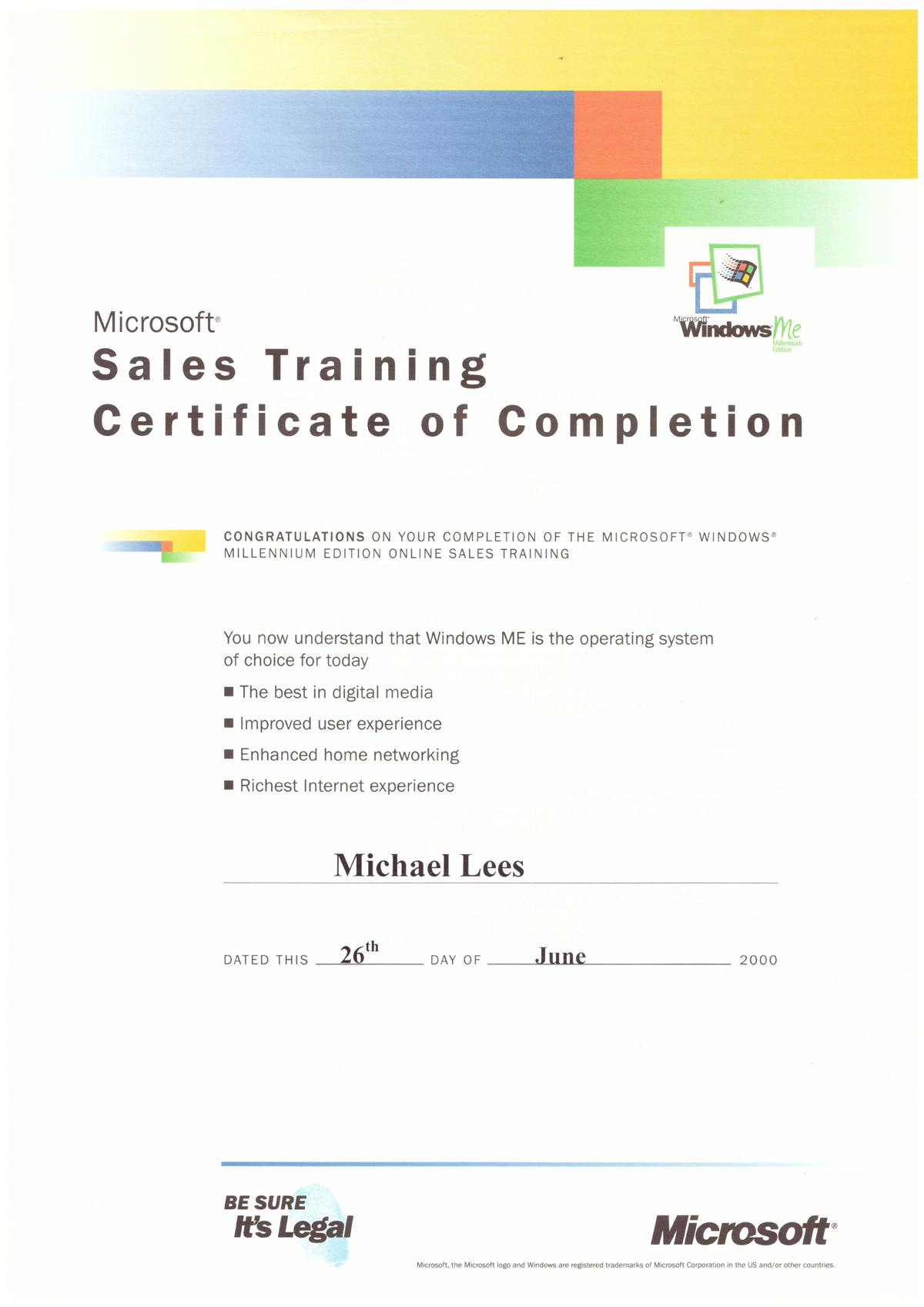 Microsoft Windows Me Sales Training Certifications Cybertec